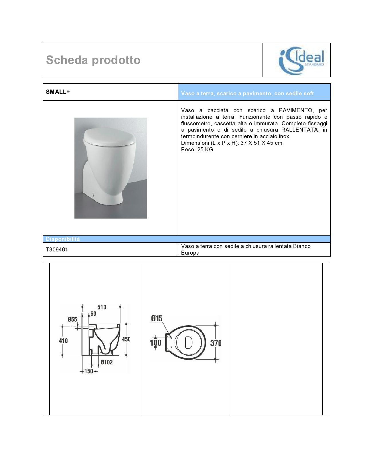 Ideal standard small tutte le offerte cascare a fagiolo for Calla ideal standard scheda tecnica