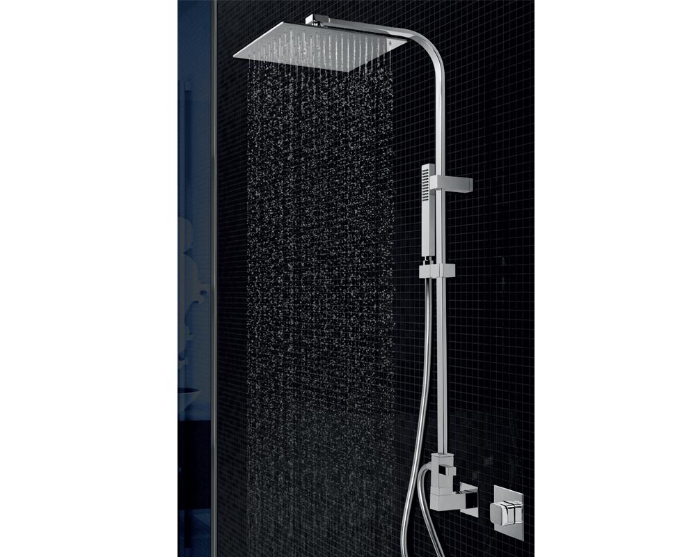 Colonna doccia ponsi con soffione quadrato ultrasottile inox cm